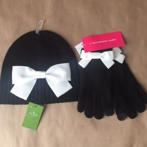 New Kate Spade Bow Beanie and Gloves as a set